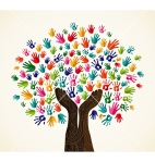 Colorful human hands solidarity tree